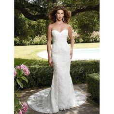 Mermaid / Trumpet Strapless Sleeveless Court Train Satin Lace Wedding Dress $290.99 Mermaid Wedding Dresses