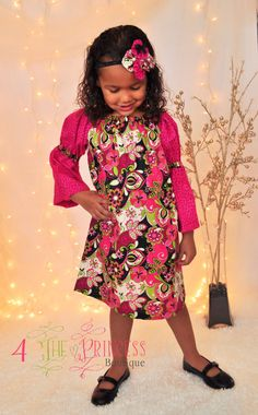 Girls peasant dress with gathered ruffled by 4theprincessboutique, $35.00