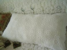 """One elegant hand crochet Lace White Cotton Large Pillowcase by Victoria's Deco. $22.99. 100% cotton. color: white. Size:21""""x37"""". A little old country style, a little chic and a little peace, it is always be.All handmade corchet pattern on the top is very elegant. There is hand embroidery flowers on it as well. It can be used with all kinds of your bedding. You can match the hand crochet bedspread in our store.   You can find the embroidery bed sheet in my other aucti..."""