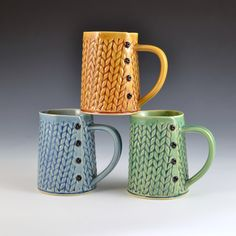 Knitted Handmade ceramic mug MADE to ORDER by Creativewithclay on Etsy https://www.etsy.com/listing/222728460/knitted-handmade-ceramic-mug-made-to