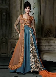 embroidered-orange-and-blue-anarkali-maxi-dress-for-asian-brides