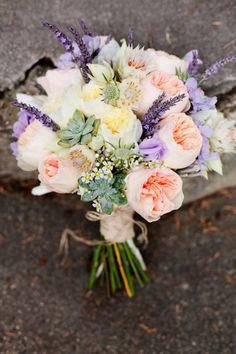 #1 favorite for bridal bouquet, with a simpler version for the bridesmaids?  Romantic bouquet with peaches, purples and cream colors.