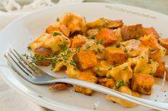 Cheese Tortellini in Pumpkin Gorgonzola Sauce