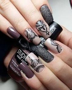Best Ideas For Nail Art Designs To Inspire Your Imagination Nail Stamping stamping nail art avec quel vernis Lace Nail Art, Lace Nails, Henna Nail Art, Ombre Nail Art, Edgy Nail Art, Lace Nail Design, Nagel Stamping, Stamping Nail Art, Mandala Nails