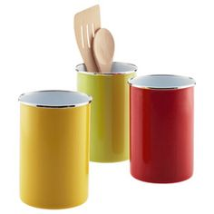 The Container Store > Enamel Utensil Holder....love the bright colors!
