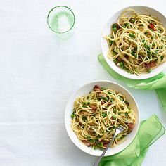Spring Pasta Carbonara: Creamy egg and Parmesan, salty bacon, and bright green spring peas are a delicious combination, and the veggies are a fresh update to this classic pasta dish. Click for the recipe on GoodHousekeeping.com.