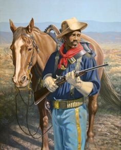 """Buffalo Soldier with Horse"" by Michael Gnatek (30 x 24"") Original oil on Canvas available at the R. Michelson Galleries."