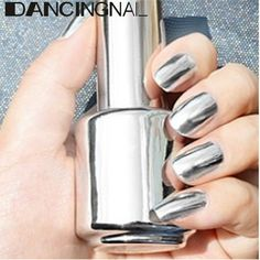 15ML Metallic Mirror Effect Metal Silver Nail Art Polish Varnish & 15ML Top Coat at Banggood