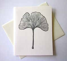 Ginkgo Leaf Note Cards Stationery Set of 10 Cards by PetitePaperie