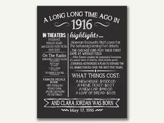 The Year 1916 Personalized 100th Birthday Poster by JustAPeekAHoo
