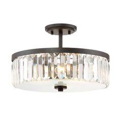 Quoizel Valentina 15.5-in W Bronze Clear Glass Semi-Flush Mount Light