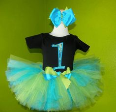 #MC Lime & Teal First Birthday Tutu Outfit by PoshBabyStore.com