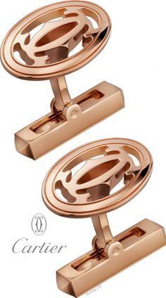 Emmy DE * Cartier Double C Logo Pink Gold Cufflinks SS 2016