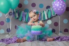 Purple & teal ombra, girls 1st birthday, smash cake, Sara Jean Photography