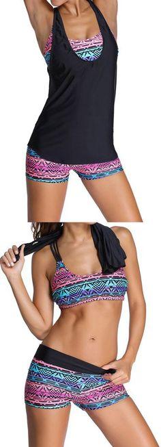 Tribal Multi Task Sports Bra Tankini Swimsuit With Tribal Swim Short. The  Tankini Swimsuit features 654a100f9