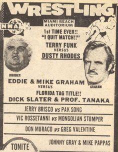 Greg Valentine, Miami Images, Dusty Rhodes, Wrestling Stars, Wrestling Superstars, I Quit, Professional Wrestling, Miami Beach, Wwe