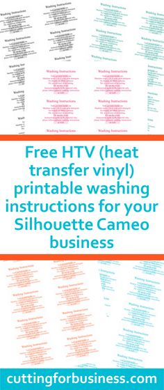 Free, printable care cards (not food safe, HTV washing instructions, and not dishwasher safe) for your Silhouette Cameo business - by cuttingforbusines. Silhouette Curio, Silhouette Cutter, Silhouette School, Silhouette Vinyl, Silhouette Portrait, Silhouette Machine, Silhouette Cameo Projects, Silhouette Design, Silhouette Cameo Gifts