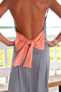 Adorable maxi dress with orange ribbon .. Click the pic for more #womenoutfits