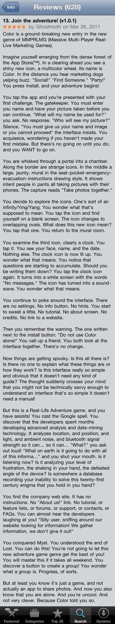 Funny App Store review of Color.