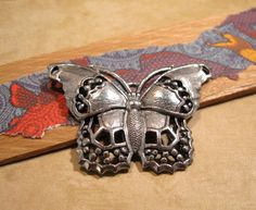 Antique Pewter Butterfly Pendant from Quest Beads and Cast by beadbarnsupplies on Etsy