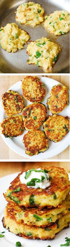 Spaghetti Squash, Quinoa, Spinach and Parmesan Fritters – a delicious and colorful combination of vegetables in little patties Serve with sour cream or Greek yogurt