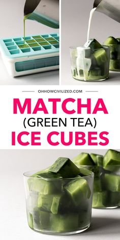 Matcha Ice Cubes with some fresh milk make for an instant, delicious Matcha Latte drink! The trick is in making Matcha ice cubes - super easy to make with just 3 ingredients. Click for my recipe! Healthy Food List, Healthy Recipes, Iced Green Tea Latte, Hot Tea Recipes, Matcha Latte Recipe, Homemade Iced Tea, Fresh Milk, Tea Sandwiches, Brewing Tea