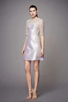 Marchesa Pre Fall 2017: This silver stunner is gorgeous! I love the intricate detailing on this cocktail dress.