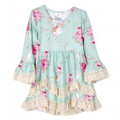 Freckles + Kitty Big Girls Blue Rose Pink Print Lace Trimmed Dress 7-10