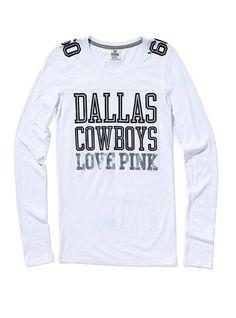 Victoria s Secret Pink Dallas Cowboys Long-sleeve Football Tee  39.50  Football Tee 687ddd4e6