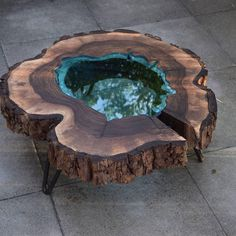 """2,034 Beğenme, 18 Yorum - Instagram'da ArtisanBorn (@artisanborn): """"Beautiful live edge coffee table with turquoise glass. Maker @holzstangl…"""""""
