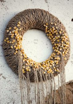 Yarn+wreath+door+wreath+grey+gray+maize+yellow+gold++by+florasense,+$25.00