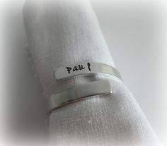 Napkin Ring / Personalized Hand Stamped Napkin Ring / Custom Napkin Ring / Table Decor / Hostess Gift / Party Favor / Wedding Favors by kimgilbert3 on Etsy