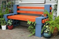 Build a bench If you have an outdoor space where you want to create a haven but don't want to spend hundreds of dollars on fancy patio furniture, build an easy bench with basic construction materials. Concrete cinder blocks and wood posts make a clever seating arrangement, and no tools are needed. Though cinder blocks can be heavy, this project is easy to make and doesn't take long to complete. • 14 concrete cinder blocks • 6 four-by-four wood posts, 6 feet long • Concrete adhesive •…