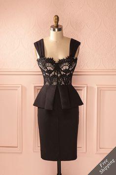 Enfilez cette magnifique robe et tout le monde restera bouche bée. Slip on this fabulous dress and watch everyone's jaw drop. Black and beige lace peplum sleeveless dress www.1861.ca