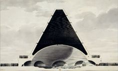 Section of The Temple of Death (engraving) by Étienne-Louis Boullée, 1795