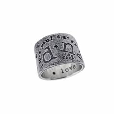 Metal Pressions | Wide Band Graffiti Ring - Personalize this 14mm wide band with names, dates, locations and much more!  Great for Men and Women to #commemorate & #celebrate