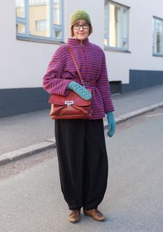 Anna - Hel Looks - Street Style from Helsinki. // This person is a knitter who has a great sense of colour and proportion.