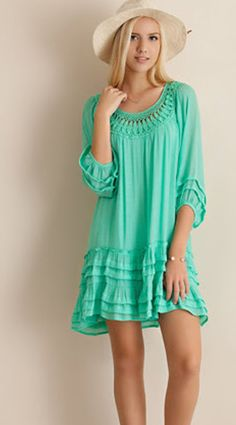 Sweet Mint Dress - Great with boots, heels, or flats! Such a cute dress!