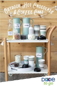 Home Interior Salas Roll a bar cart from room to room to keep the coffee, tea, and hot cocoa flowing. To make drinks party-ready, brew them ahead of time and stick them in easy-to-pour pitchers. Coffee Carts, Little's Coffee, Coffee Corner, Coffee Room, Coffee Truck, Coffee Bar Party, Coffee Bar Design, Hot Chocolate Bars, Chocolate Coffee