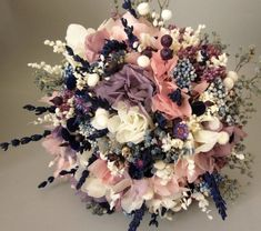 bouquet of dried flowers composed of lavender, blue, white and white paniculata . Bridal bouquet of dried flowers composed of lavender, blue, white and white paniculata . Boda Vintage Ideas, Vintage Bridal Bouquet, Wedding Vintage, Pink Hydrangea, How To Preserve Flowers, Bride Bouquets, Here Comes The Bride, My Flower, Dried Flowers