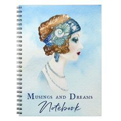 Organize your day with a custom notebook! Featuring a beautiful watercolor Art Deco girl portrait against a hand-painted blue background on the front cover, this notebook is a great way to show off your personal style and keep track of all your musings and dreams.  Dimensions: 6.5″ x 8.75″ Cover printed in vibrant, sharp color 80 black & white lined pages College ruled Lay flat spiral binding