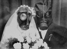 gas mask wedding