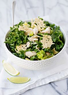 Kale Caesar Salad with Parmesan Crisp Croutons recipe