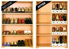 Looking to reduce annoying clutter or have limited storage space? This Stacking Shoe Organizer can double your current shoe storage space, while also providing better shoe protection and organization. The organization makes it easier to find the shoe you' Shoe Storage, Storage Spaces, Storage Ideas, Storage Solutions, Sneaker Storage, Shoe Racks, Storage Systems, Smart Storage, Shoe Rack Space Saver