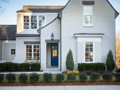 Stucco House Colors, Grey Brick Houses, Exterior Gray Paint, House Paint Exterior, Exterior Colors, Gray Exterior Houses, Stucco Exterior, Home Exterior Makeover, Exterior Remodel