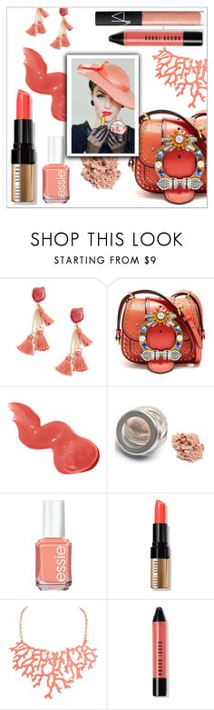 """""""Coral Lips"""" by elli-argyropoulou ❤ liked on Polyvore featuring beauty, Sole Society, Miu Miu, Bobbi Brown Cosmetics, Essie, Humble Chic, NARS Cosmetics, LIPSTICK, makeup and beaty"""