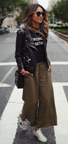 how to style a biker jacket prined top pants bag sneakers