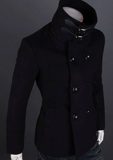 Men's High Collar Double Breasted Coat. this is an example of an item i really like, but i would never wear because i'd look stupid
