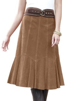 Suede Skirt With Godets Plus Size in Fall 2012 from Jessica London Modest Outfits, Modest Fashion, Fashion Outfits, Big And Tall Outfits, Plus Size Outfits, Country Girl Style, My Style, How To Make Skirt, Ladylike Style
