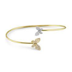 14K Diamond Double Butterfly Bangle, Two Tone